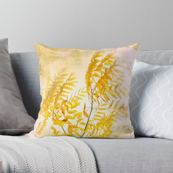Yellow branch Throw Pillow