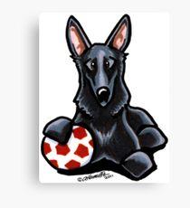 Black German Shepherd Soccer Fan Canvas Print