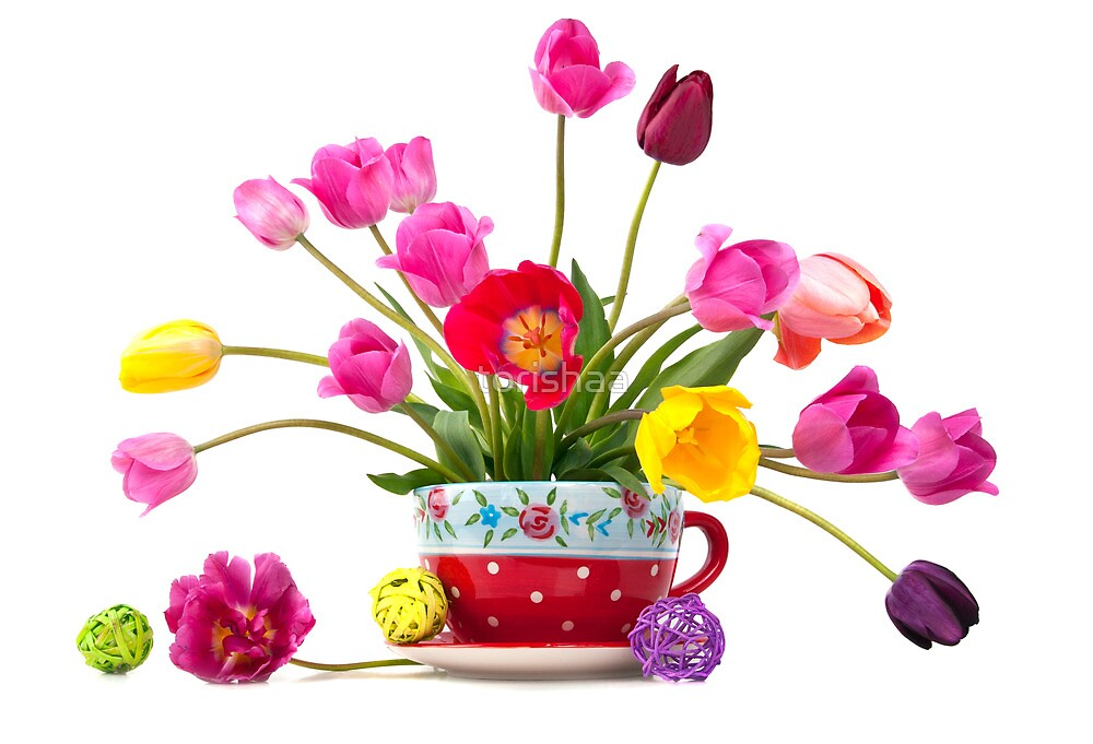 Beautiful bouquet of tulips in a red cup  by torishaa