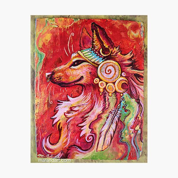 Peace Flow - Wolf Headdress Acrylic Painting Photographic Print