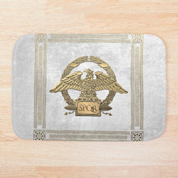 Roman Empire - Gold Roman Imperial Eagle over White Velvet Bath Mat