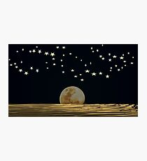 The Moon and Stars in a Night Sky with Cool Water Photographic Print