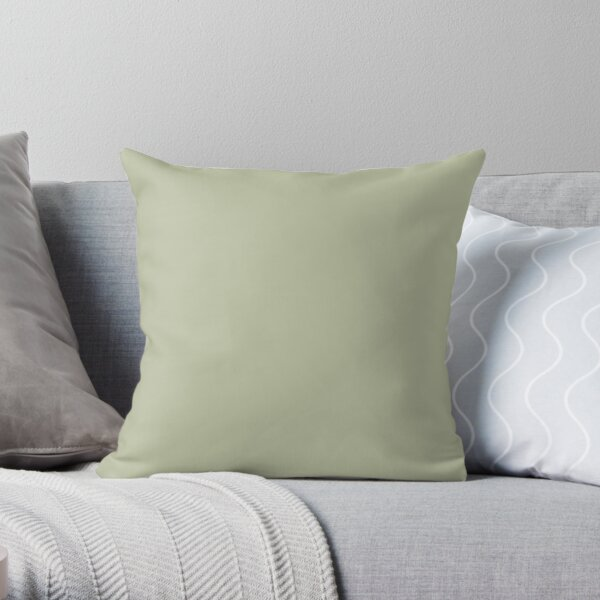 Lichen Green-Pale Green Solid Colour Throw Pillow