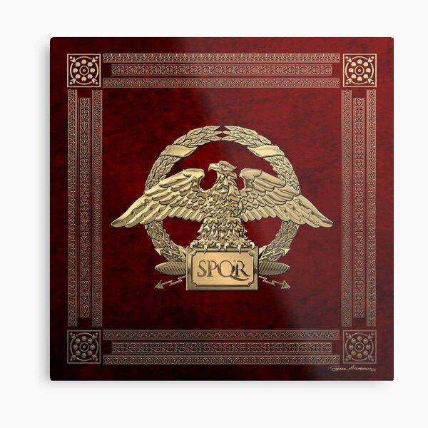Roman Empire - Gold Roman Imperial Eagle over Red Velvet Metal Print