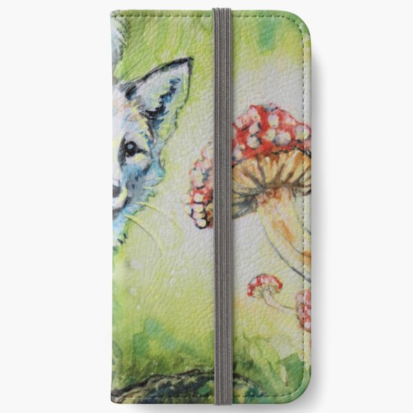 Magical Encounter - Fox and Mushroom Watercolor iPhone Wallet