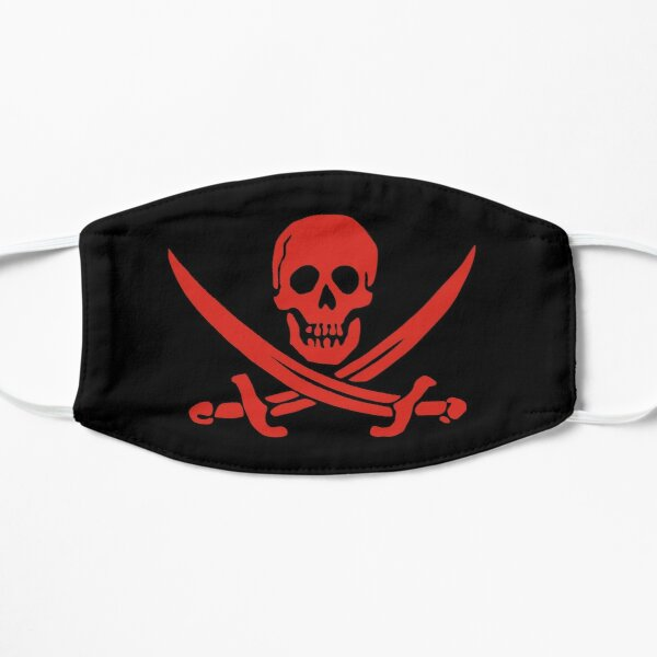 Red Calico Jack Pirate Flag Jolly Roger Skull and Bones Graphic Flat Mask