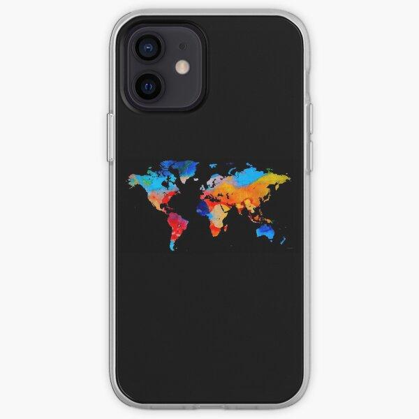 World Map 18 Black Background iPhone Soft Case