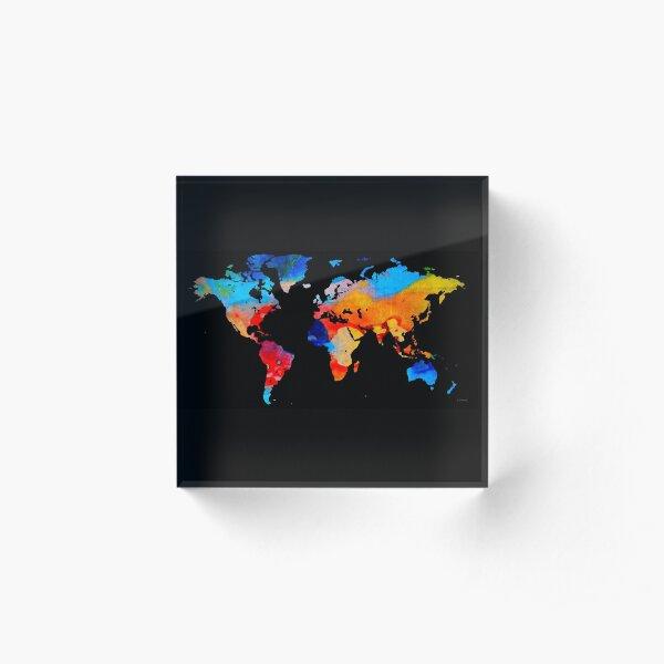 World Map 18 Black Background Acrylic Block