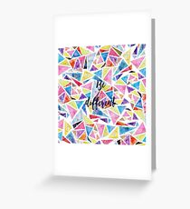 """Watercolor hand paint geometric triangles pattern """"be different"""" quote Greeting Card"""