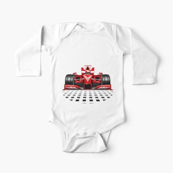 Formula 1 Red Race Car Long Sleeve Baby One-Piece