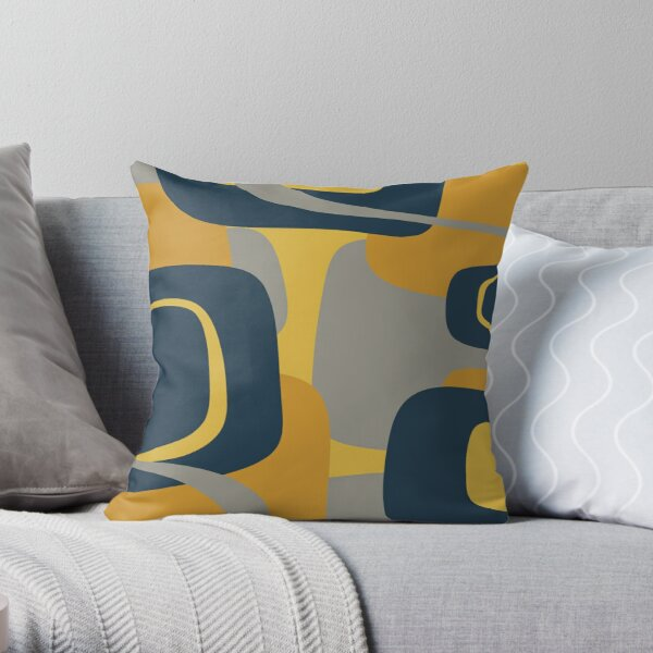 Mid Century Modern Retro Abstract Pattern in Navy Blue, Mustard Yellow, and Gray Throw Pillow