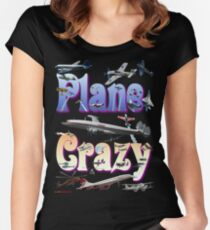 Plane Crazy T-shirt - for those obsessed with aircraft Women's Fitted Scoop T-Shirt
