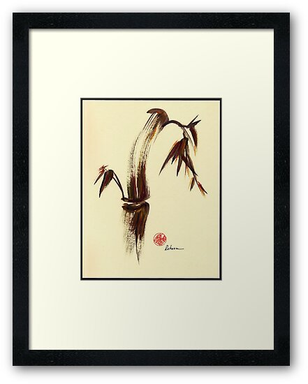 Here and Now - Zen dry brush painting of peace and joy by Rebecca Rees