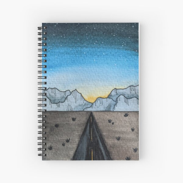 Watercolor Desert Sunset Landscape Cool Spiral Notebook