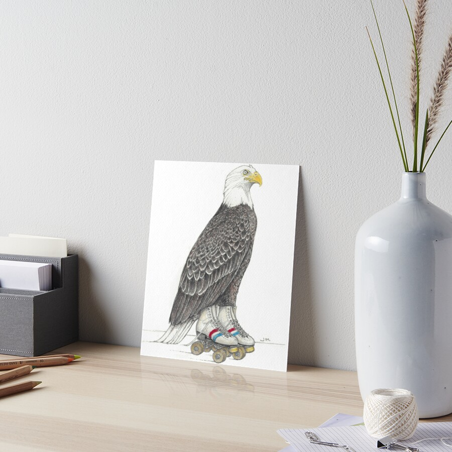 Eagle on roller skates Art Board Print