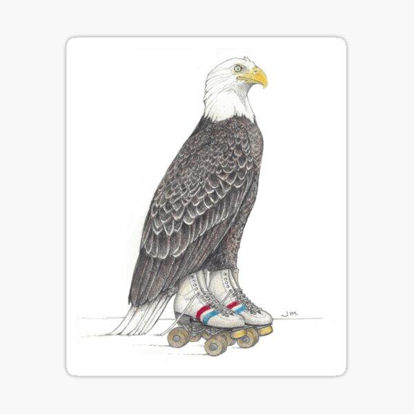 Eagle on roller skates Sticker