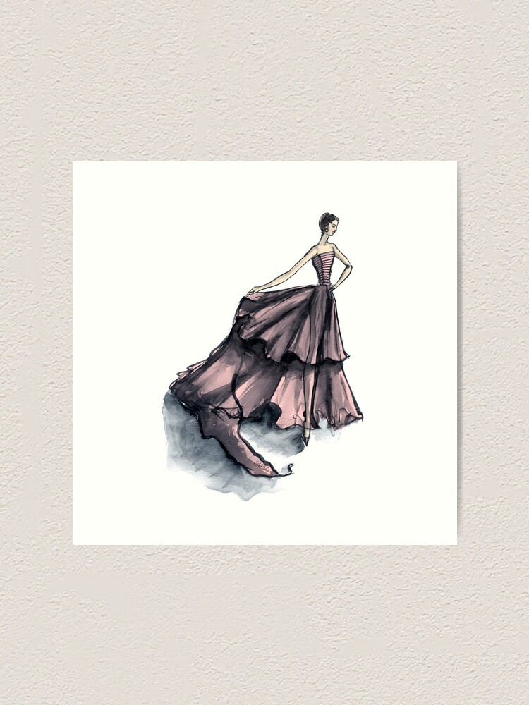 Alternate view of Audrey in Pink Fashion Dress Beautiful Feminine Disco Gown  Art Print