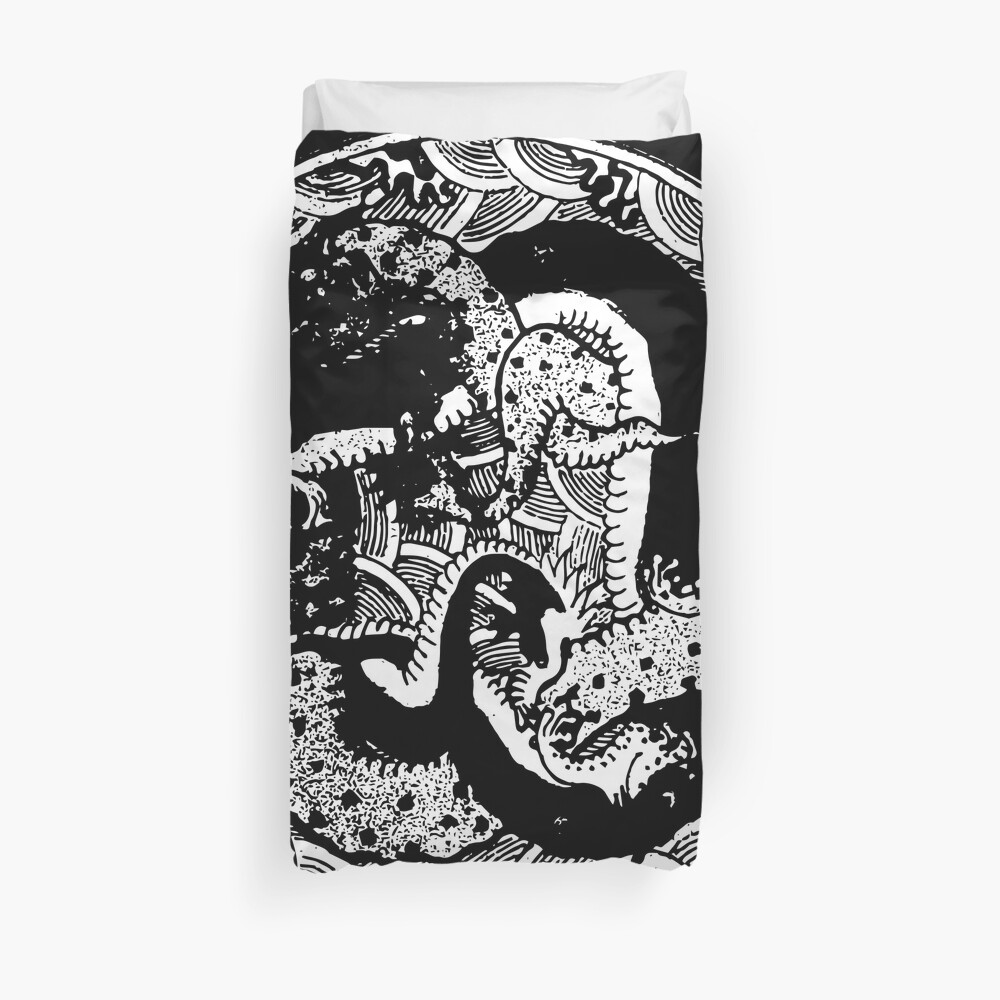 Black and White Graphic Abstract Illustration Duvet Cover