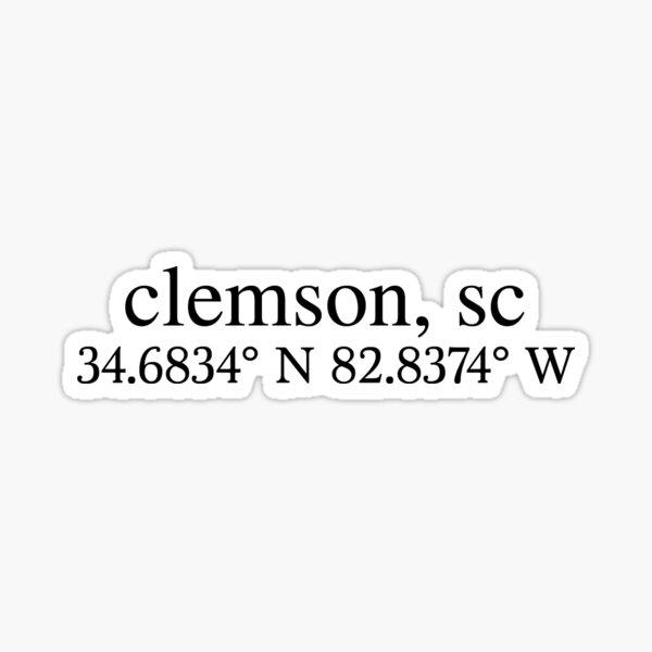Clemson Coordinates Sticker
