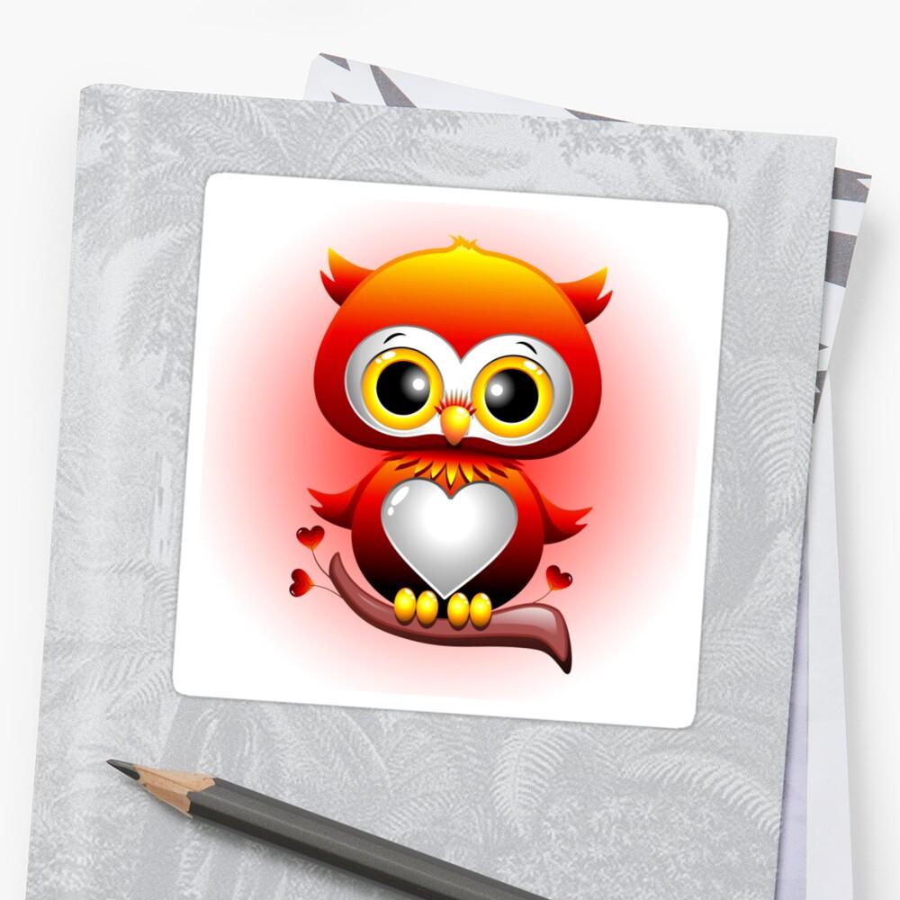 baby owl love heart cartoon