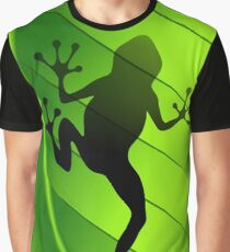 Frog Shape on Green Leaf Graphic T-Shirt