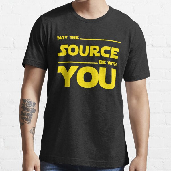 May The Source Be With You Yellow Coder & Sci-Fi Geek Design Essential T-Shirt