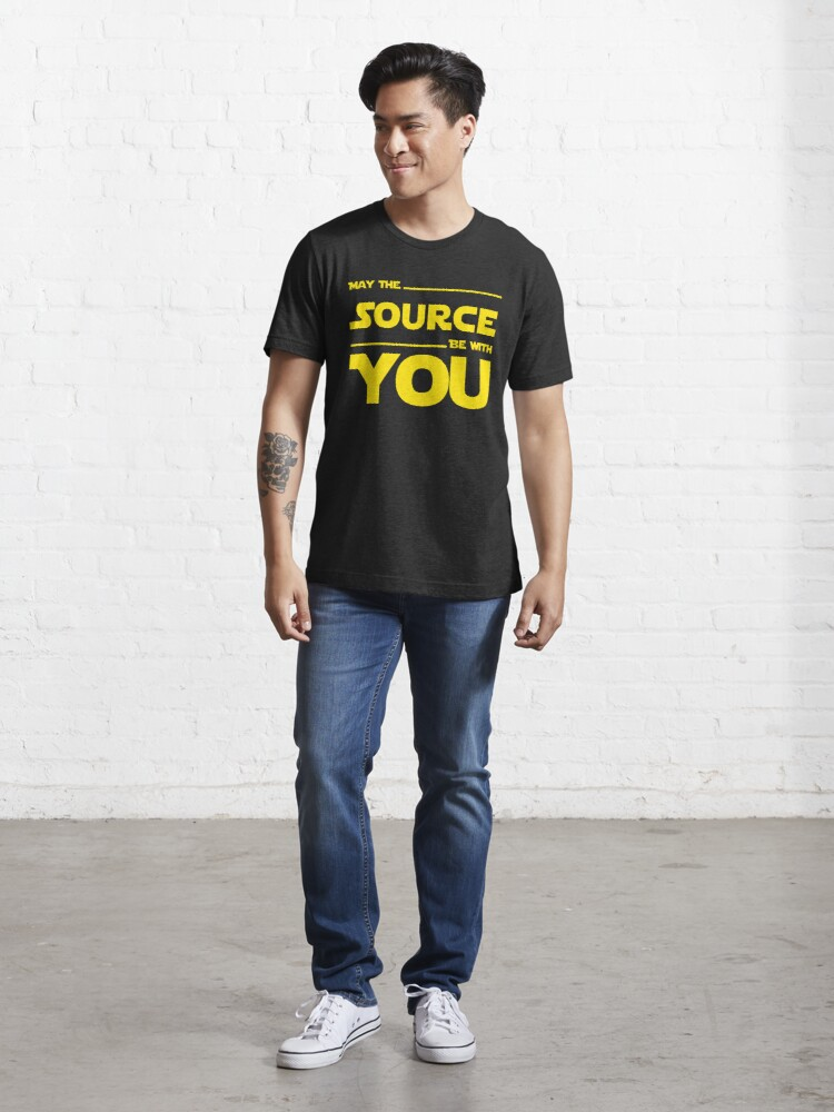Alternate view of May The Source Be With You Yellow Coder & Sci-Fi Geek Design Essential T-Shirt