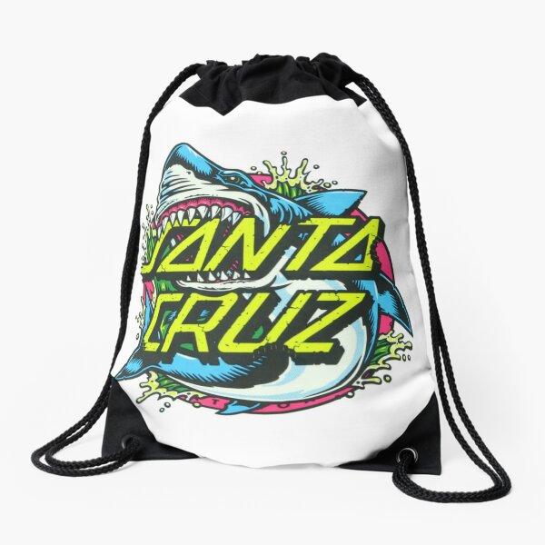 Shark Santa Cruz Sticker Drawstring Bag