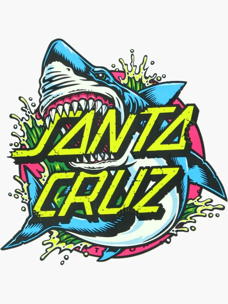 Shark Santa Cruz Sticker by maddiesartworks