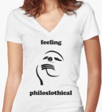Feeling Philoslothical Women's Fitted V-Neck T-Shirt