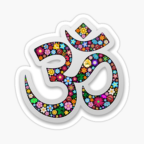 Namaste Floral Yoga Symbol  Sticker