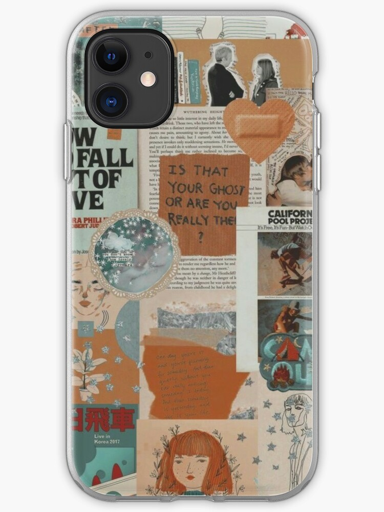 Faded Blue And Orange Aesthetic Collage Instagram Mood Board Theme Wallpaper Iphone Case Cover By Jeonqz Redbubble
