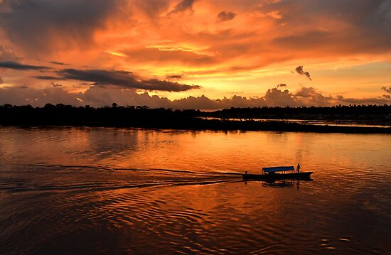 Amazing sunset on Amazon river by Daniele Iengo