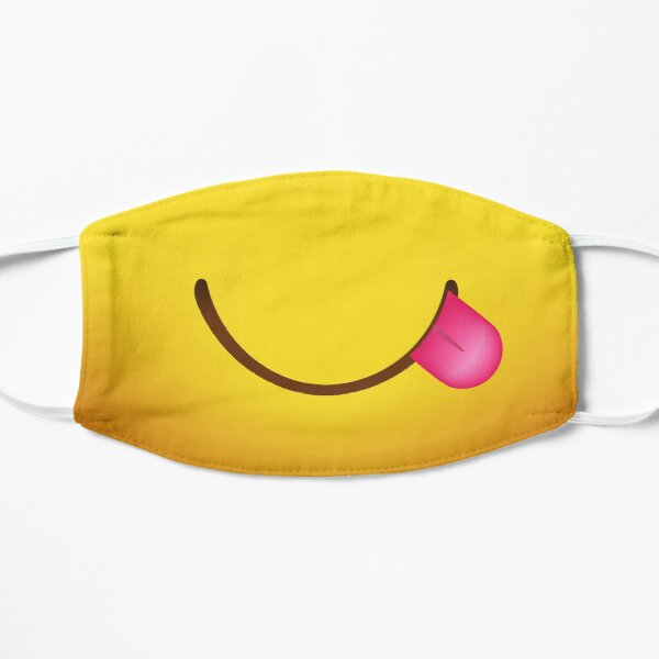 Emoji Face - Saboreando la lengua Mascarilla plana