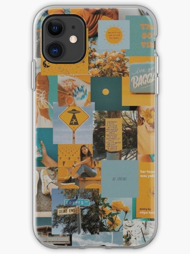 Faded Blue And Yellow Aesthetic Collage Instagram Mood Board Theme Wallpaper Iphone Case Cover By Jeonqz Redbubble