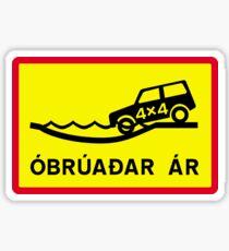 Unbridged River, Traffic Sign, Iceland Sticker