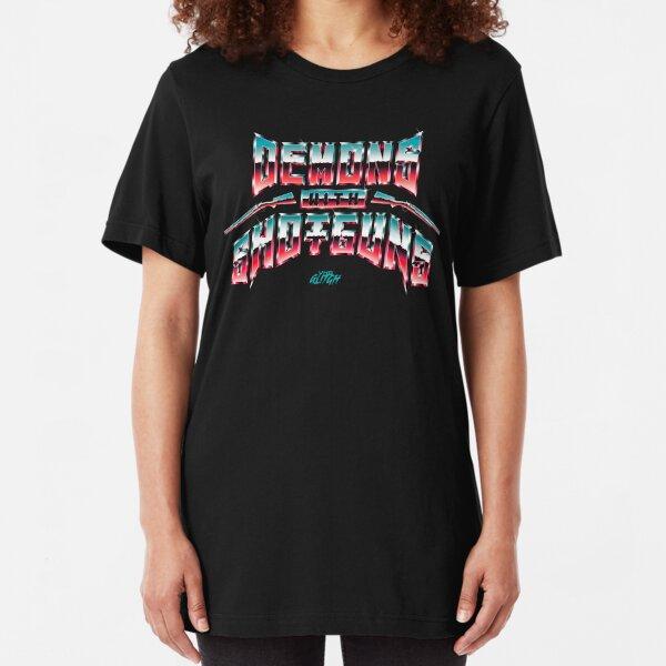 VHS Glitch - Demons with Shotguns Slim Fit T-Shirt