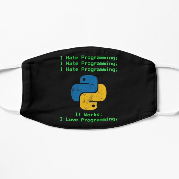 Python I Hate Programming Terminal Design I Love Programming Funny Developer Sticker Mask Mask