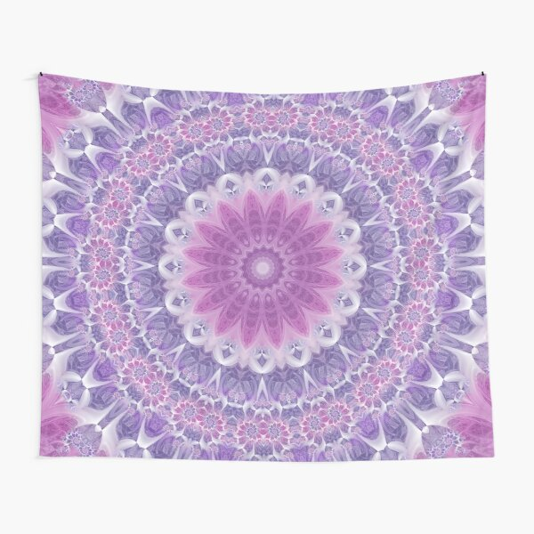 Purple and Pink Fractal Mandala Tapestry