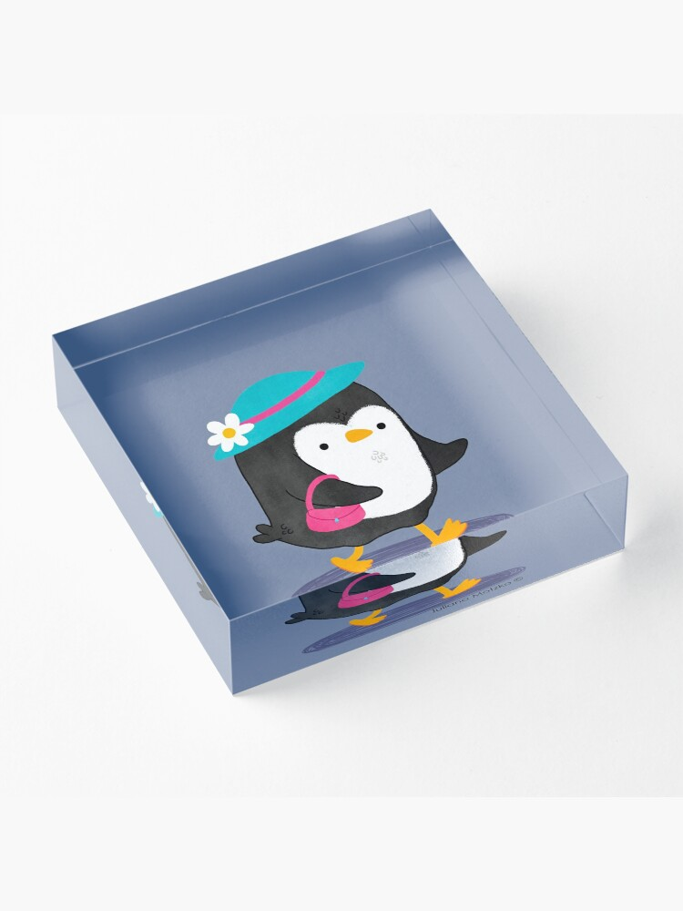 Alternate view of Daisy Penguin with purse and hat Acrylic Block