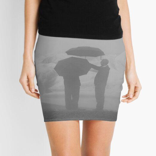 B & W Rainy Day Graphic  Mini Skirt
