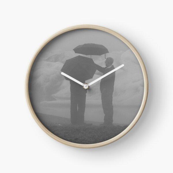 B & W Rainy Day Graphic  Clock