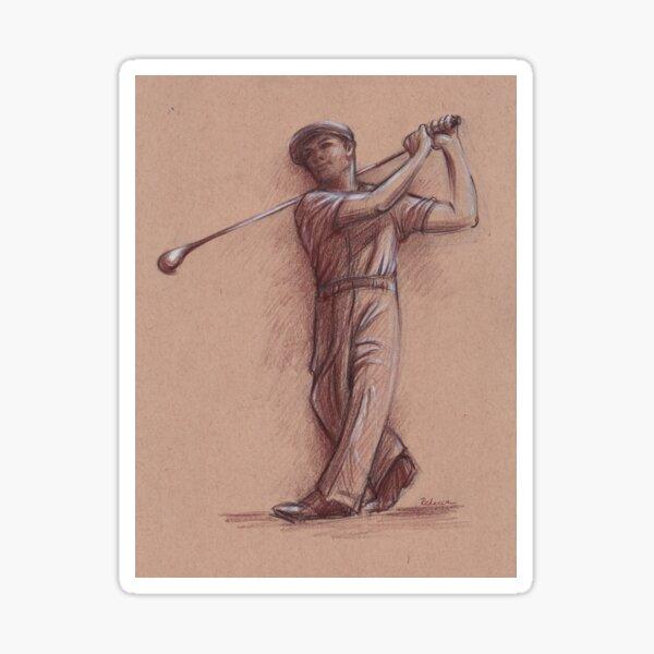 Ben Hogan - Pencil drawing of the Legendary Golf Master Sticker