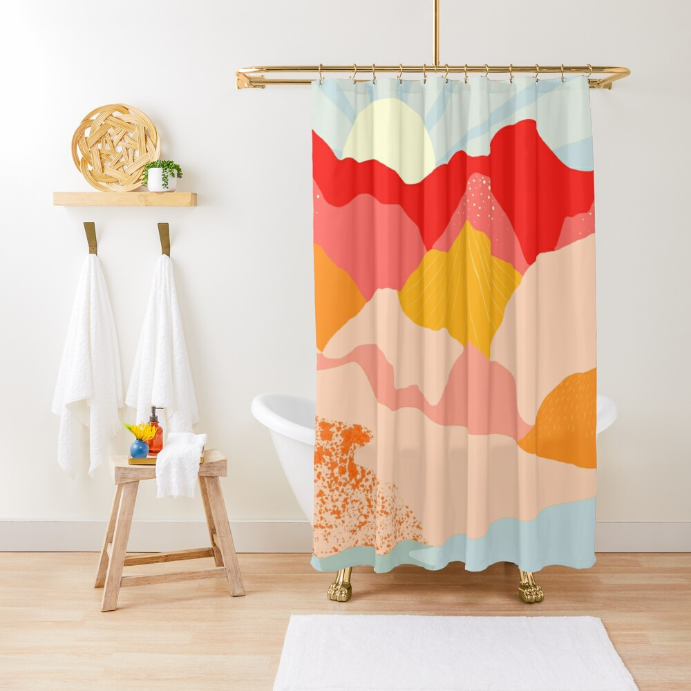 sunrise mountains Shower Curtain
