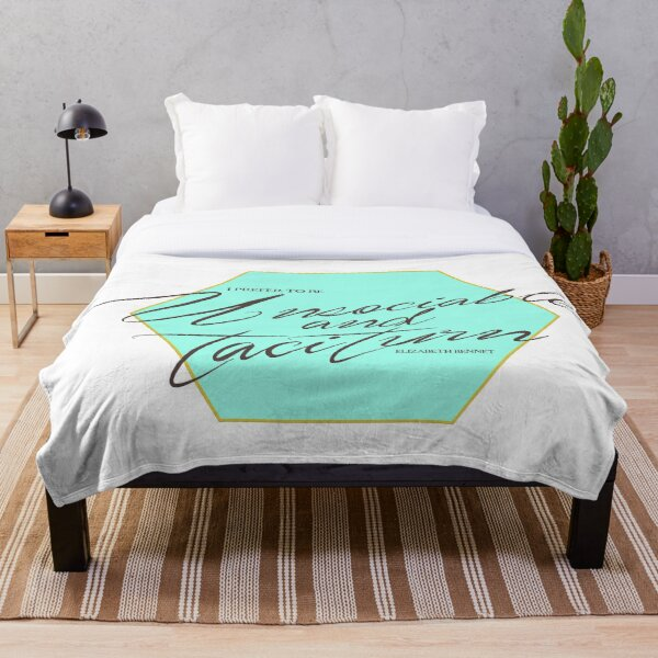 I prefer to be unsociable and taciturn - Elizabeth Bennet Throw Blanket
