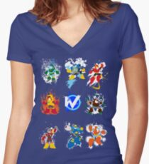 Robot Masters of Mega Man 2 Women's Fitted V-Neck T-Shirt