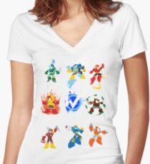 Robot Masters of Mega Man 2 Women's Fitted V-Neck T-Shirt