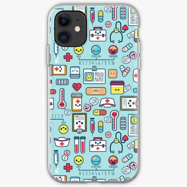 Proud To Be a Nurse / Surface Pattern Design / Blue iPhone Soft Case