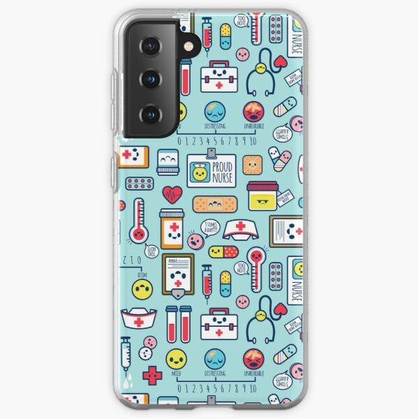 Proud To Be a Nurse / Surface Pattern Design / Blue Samsung Galaxy Soft Case