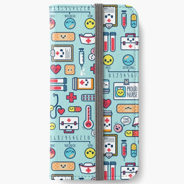 Proud To Be a Nurse / Surface Pattern Design / Blue iPhone Wallet